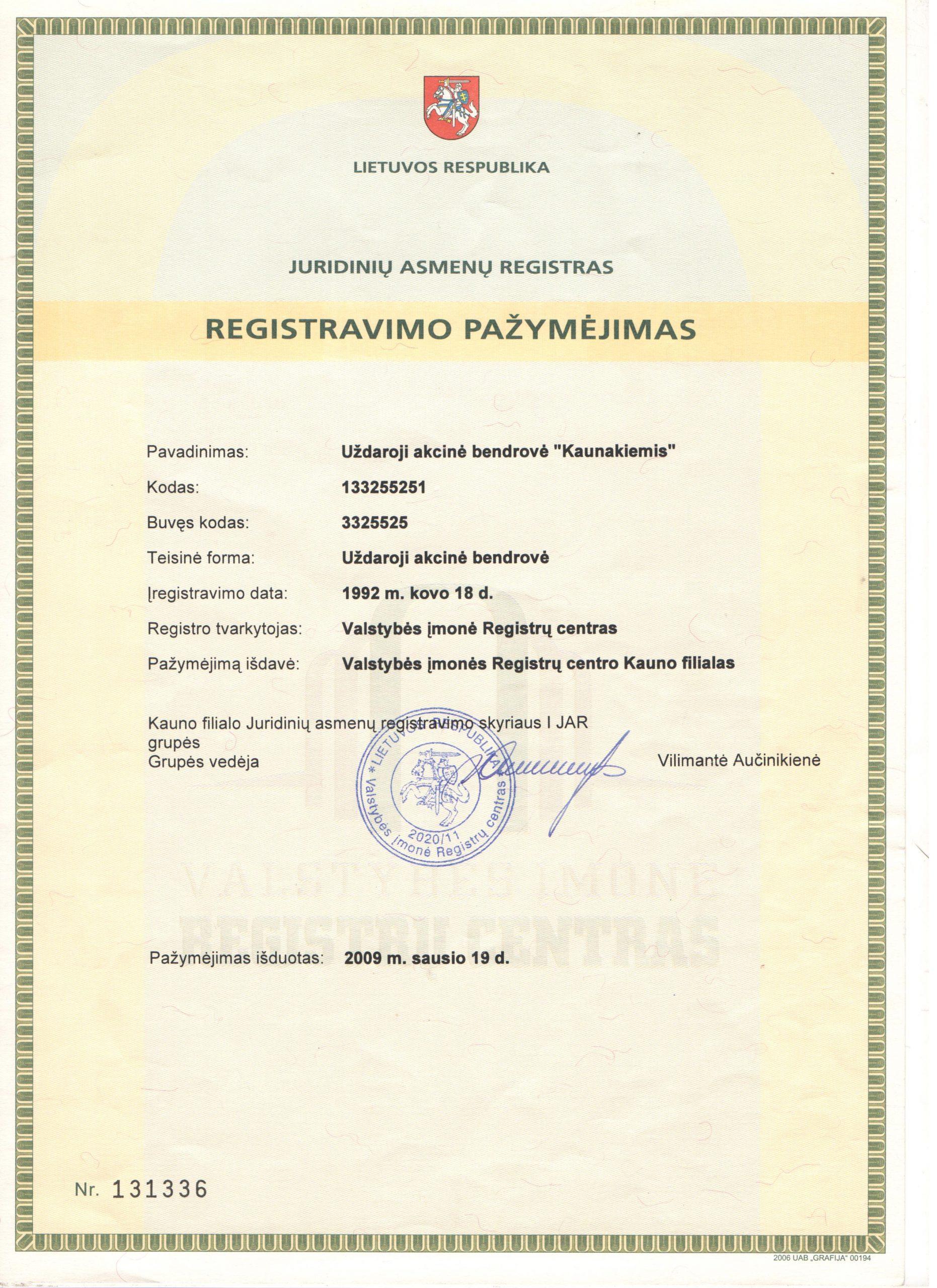 Įmonės registravimo pažymėjimas