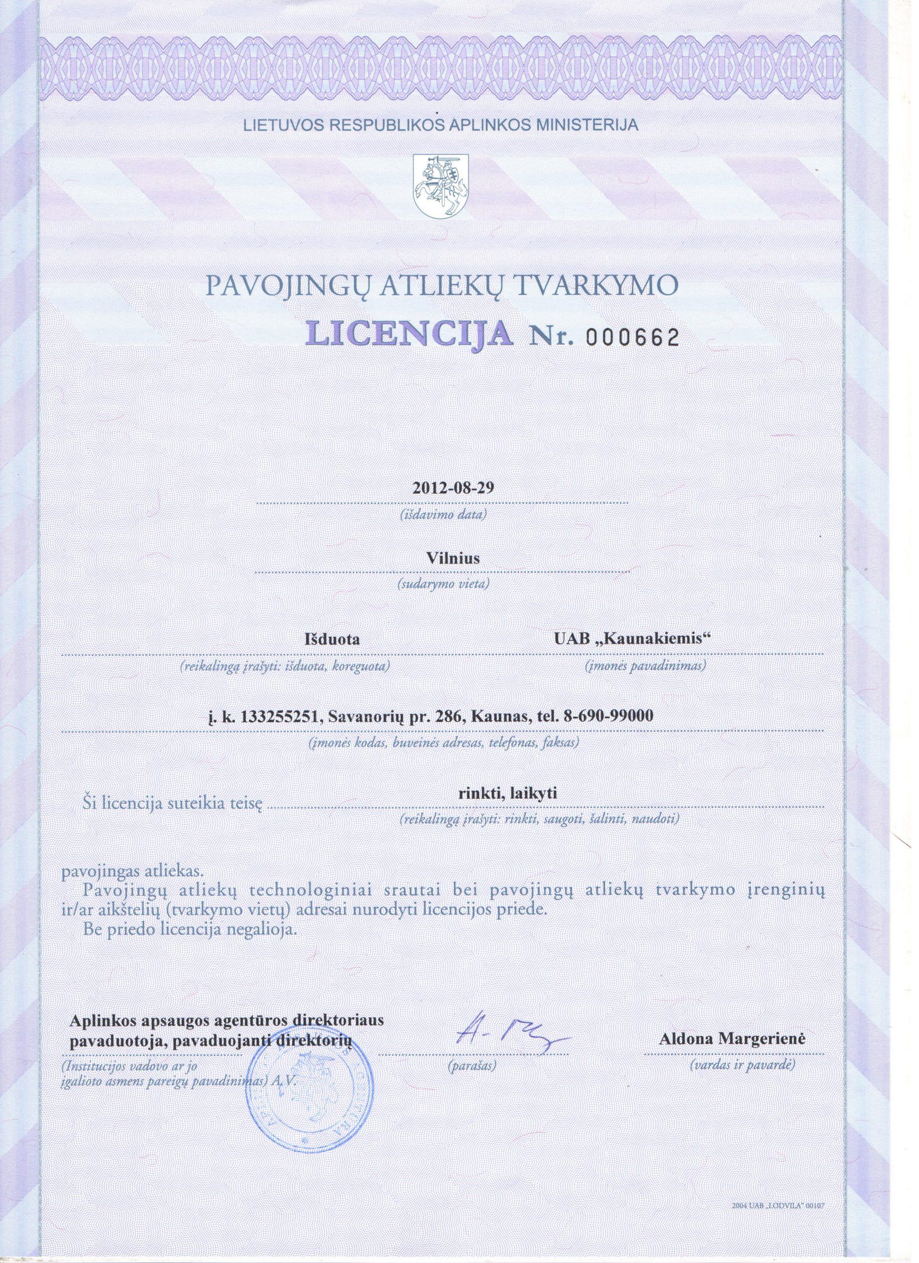 Pavojingų atliekų tvarkymo licencija